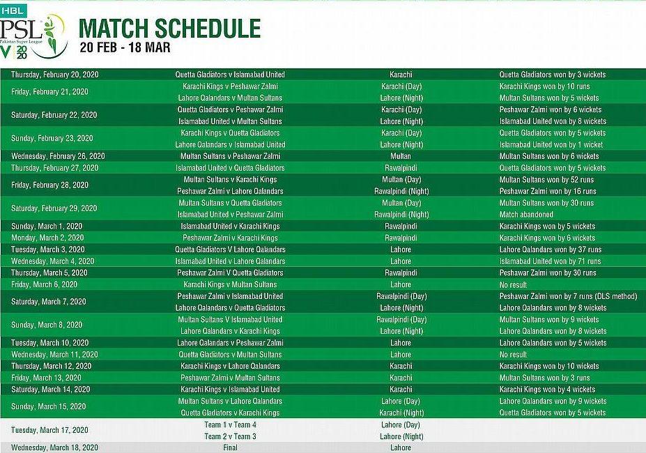 PSL 2020 match-schedule