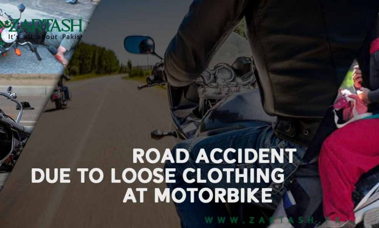 Photo of Road Accident due to Loose Clothing at Motorbike